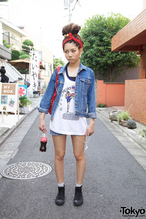 Japanese Girl's Dreadlocks, Muay Thai Top & Chupa Chups Lollipops