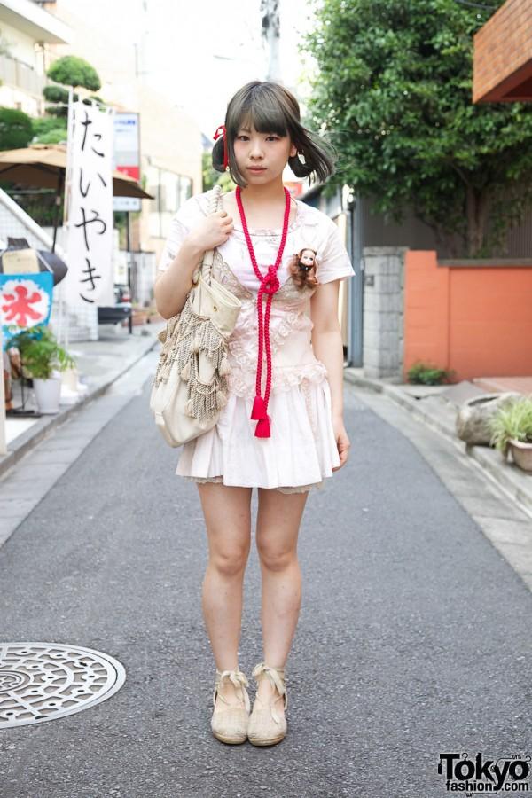 Doll Head Brooch, Tassel Necklace & Ribbon Hair Bows in Harajuku