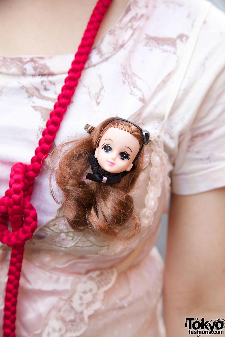 Doll Head Brooch Tassel Necklace Amp Ribbon Hair Bows In