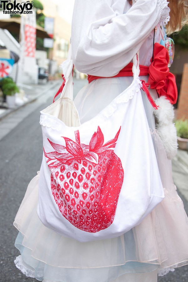 Handmade tote with strawberry