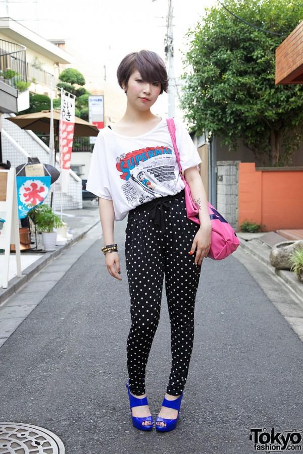 Tokyo Girl's Lavender Hair, Tattoos, Colorful Nail Art & Superman Top
