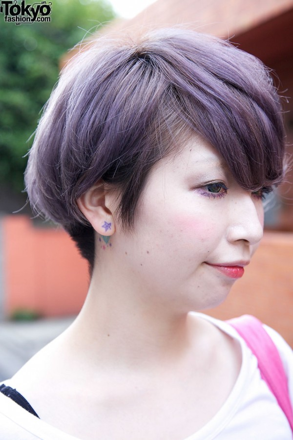 Ear Lobe Tattoo & Lavender Hair