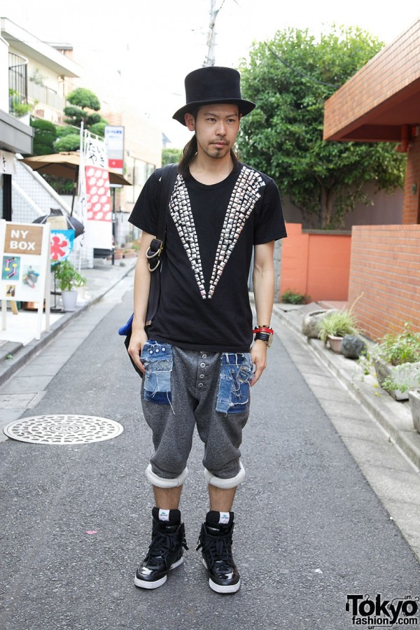 Japanese Guy's Top Hat & LaCoste x ATO Sneakers in Harajuku