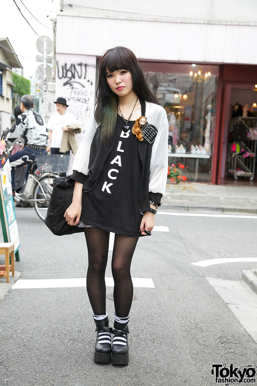 black on white harajuku hair style short hairstyle 2013
