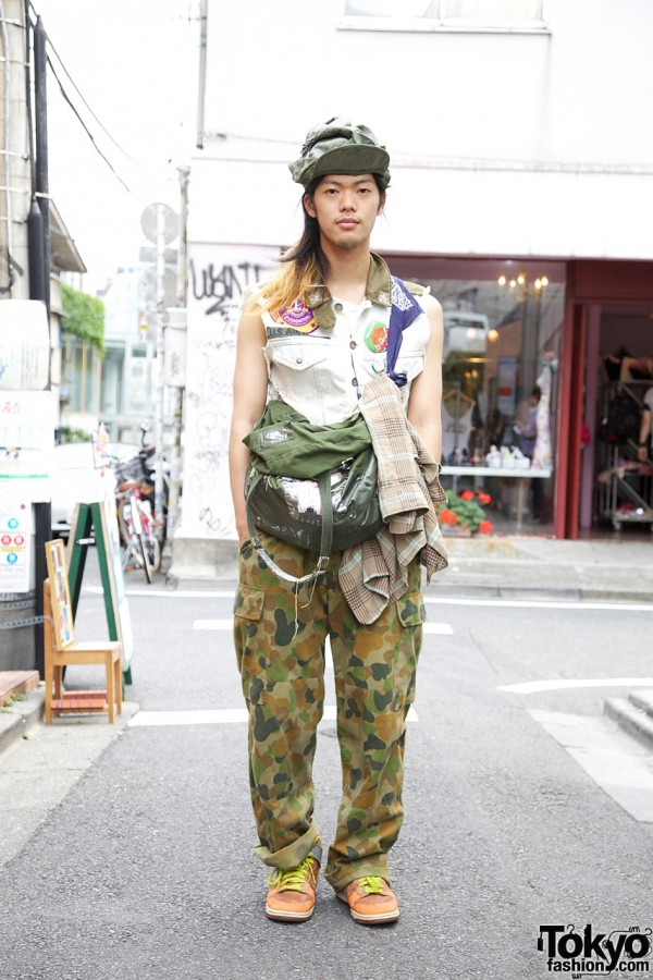 Boy Tokyo Tommy in Military-inspired Outfit w/ Vintage Nike Sneakers