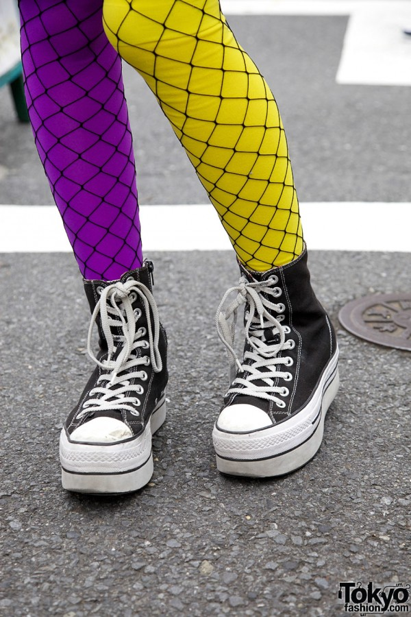 Fishnets & Platform Converse Sneakers