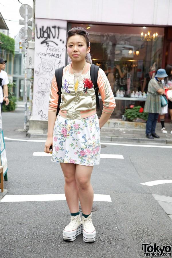 Japanese Girl in Studded Platform Converse & Cropped Sukajan