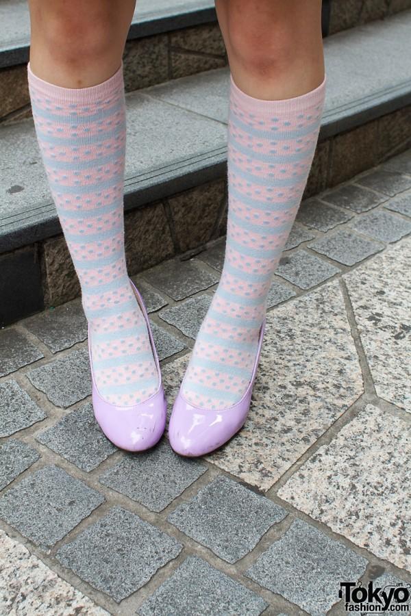 Striped Socks & Purple Pumps in Harajuku