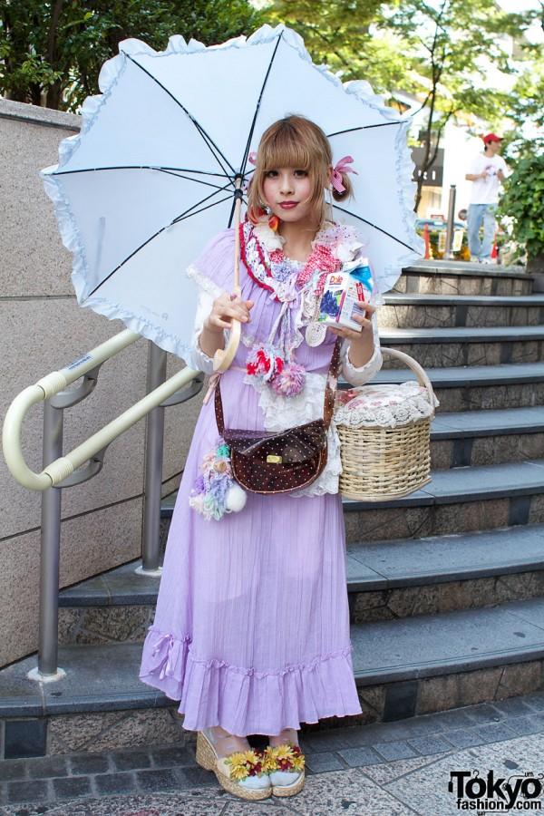 Japanese Girl's Wedge Espadrilles, Maxi Dress, Parasol & Straw Bag