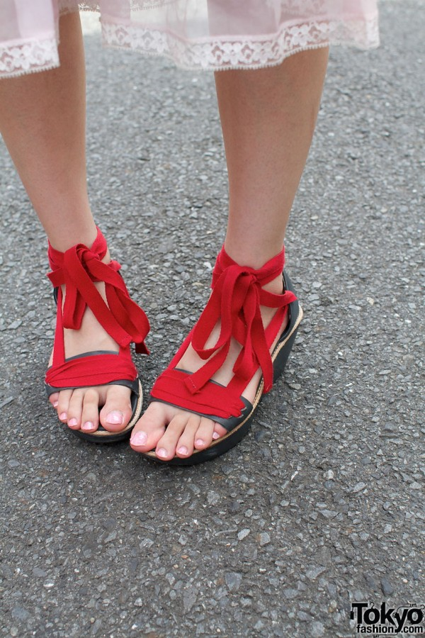 Red Ribbon Sandals