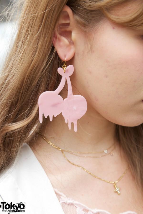 Pink cherries earring