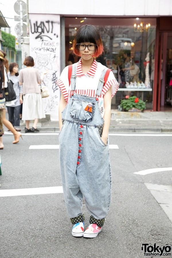 Harajuku Girl's Two-Tone Bob, PMA Overalls & Illustrated Sneakers