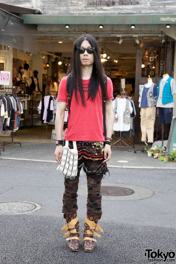Undercover Shredded Shorts & Patched Pants in Harajuku
