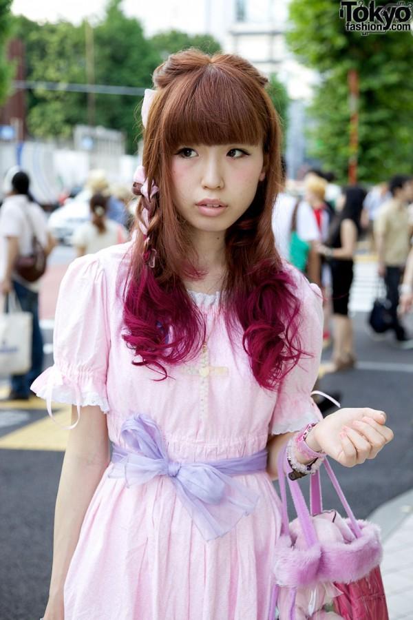 Pink dress & lavender sash