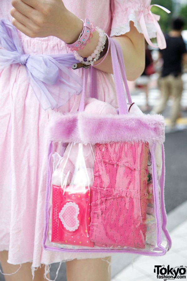Transparent Spank! purse w/ lavender fur trim