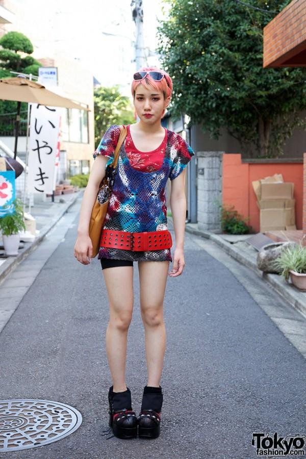 Tie dyed crochet vest & Demonia shoes