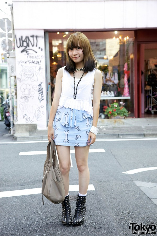 Joyrich x Mademoiselle Yulia Skirt & Studded Heels in Harajuku