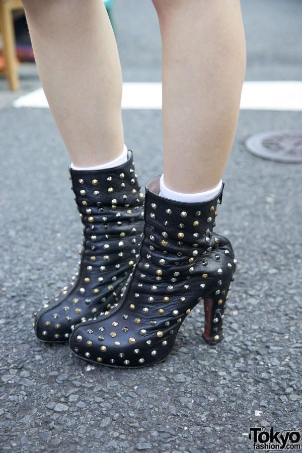 Studded Black Heels in Harajuku