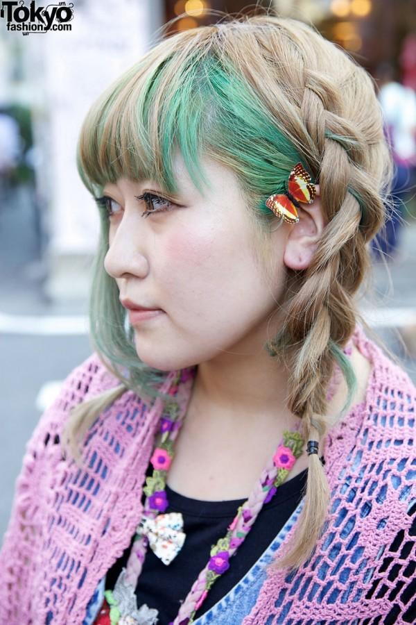 Blonde & green braids w/ butterfly clip