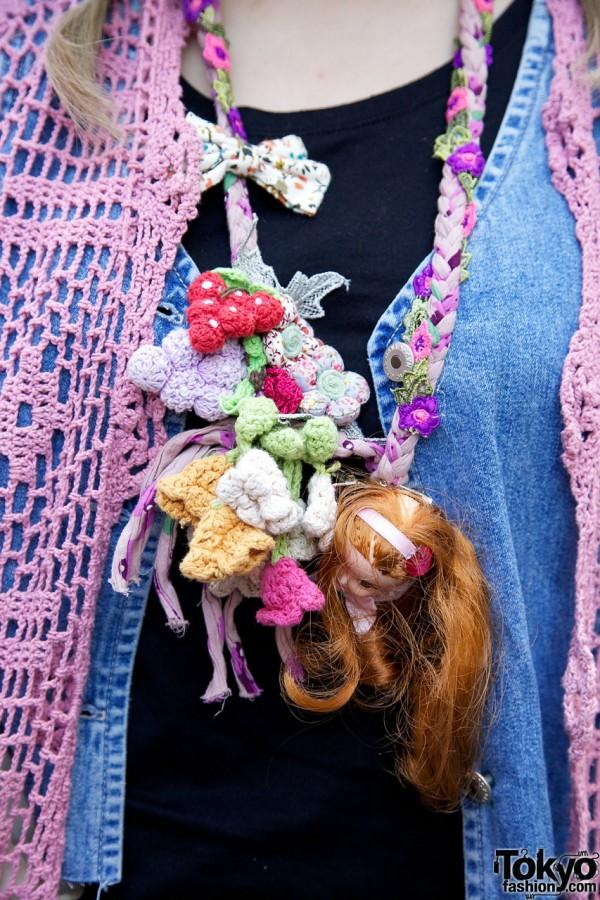 Handmade necklace w/ doll's head