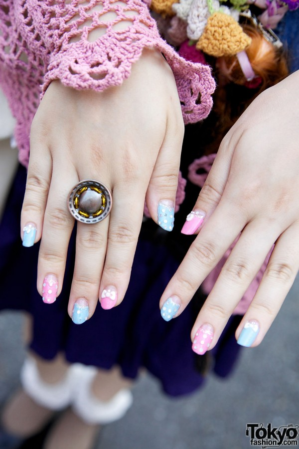 Embellished nails & pewter ring
