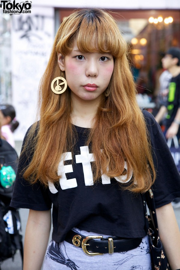 Japanese girl in Fetish t-shirt