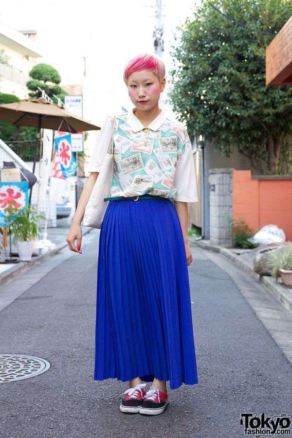 Retro Top & Maxi Pleated Skirt