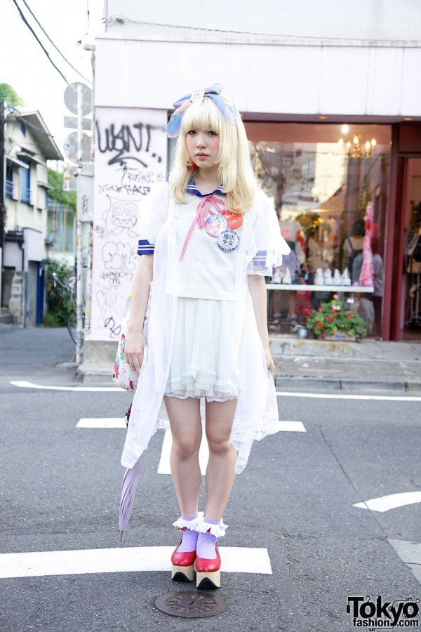 Blonde Harajuku Girl in Sailor Top, Negligee & Rocking Horse Shoes