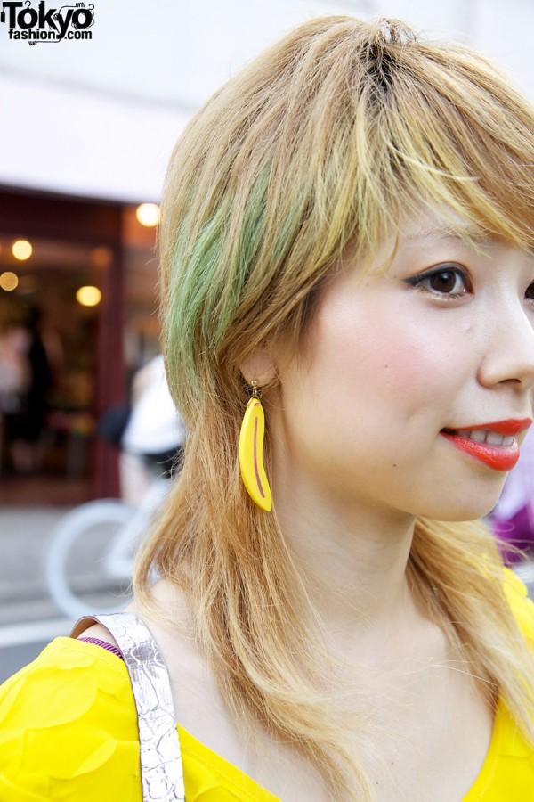 Green Tinted Hair & Banana Earrings