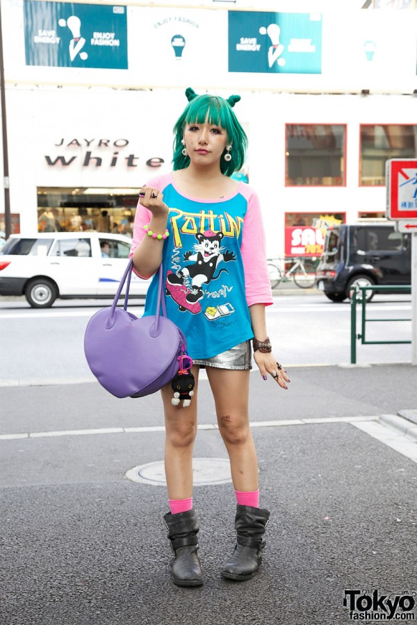 Galaxxxy Top & Silver Sly Miniskirt