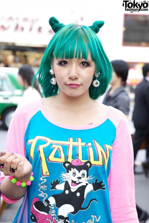 Green Odango Double Bun Hairstyle