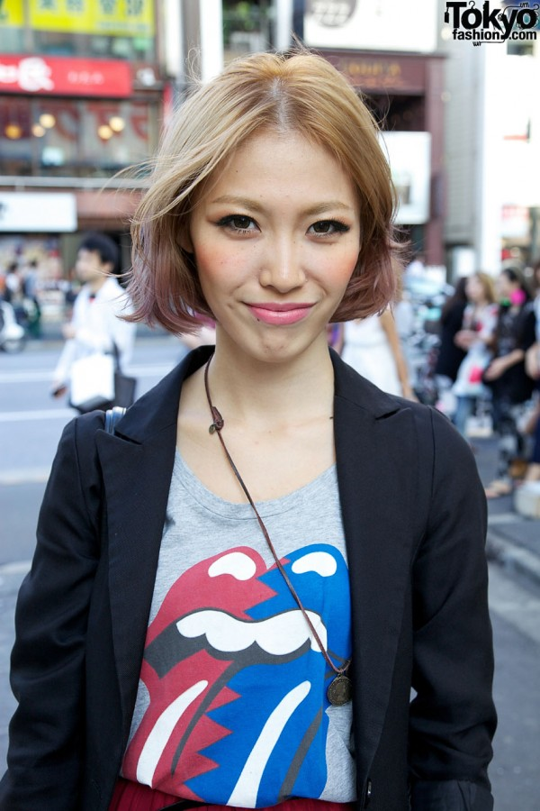 Tuxedo-style jacket & Rolling Stones t-shirt