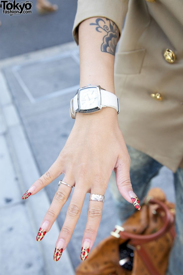 Silver watch & leopard print nail tips