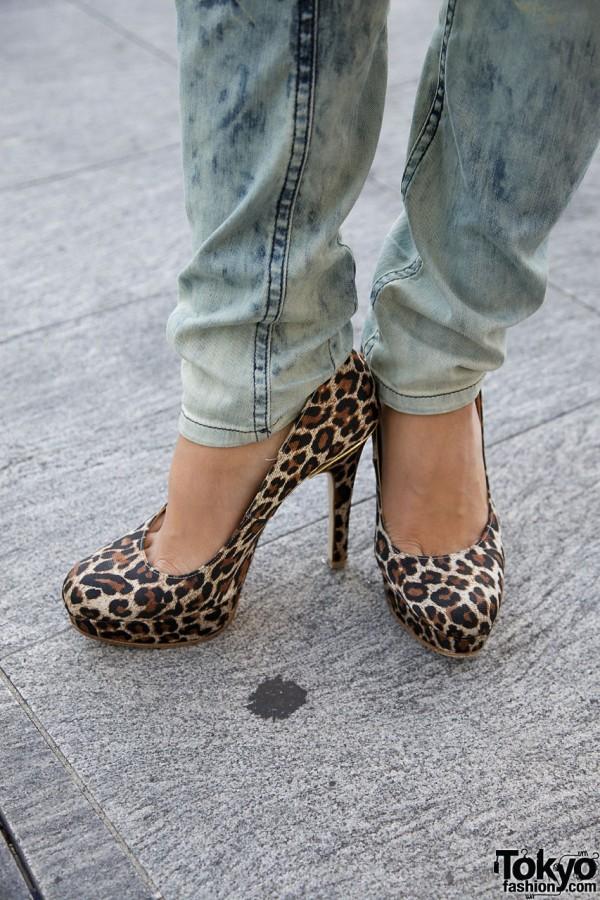 Leopard print stilettos & Diesel jeans