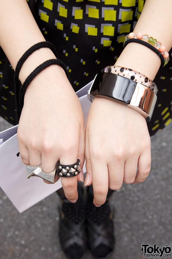 Bangle, chunky bracelet, geometric rings
