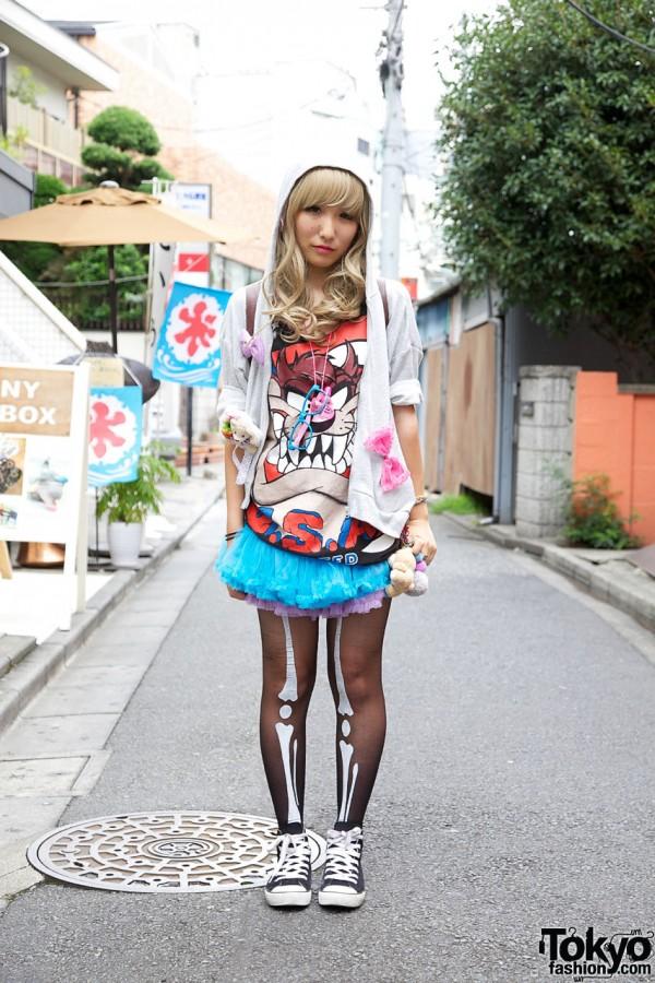 Blonde Japanese Girl in Skeleton Tights, Tulle Skirt & Hoodie