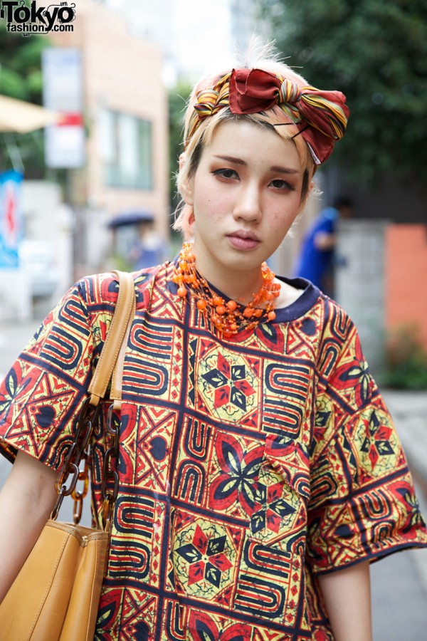 UTA graphic print top, orange necklace & head scarf