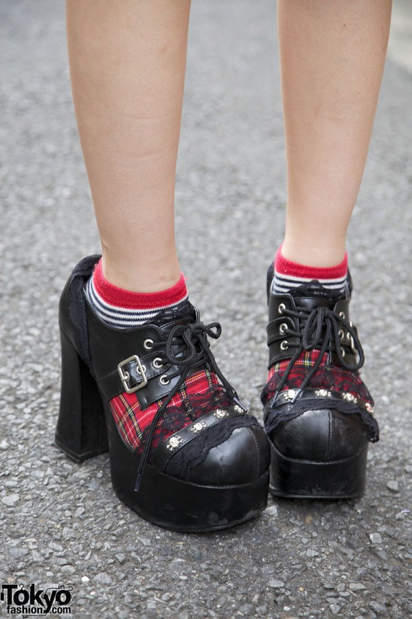 Demonia platform shoes with plaid & lace detail
