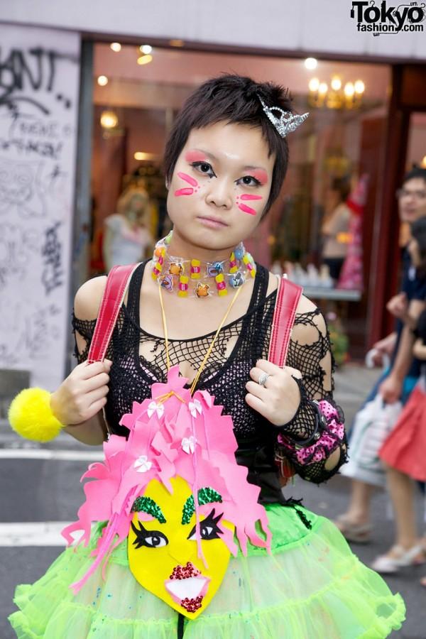 Harajuku Girl With Cat Face Paint