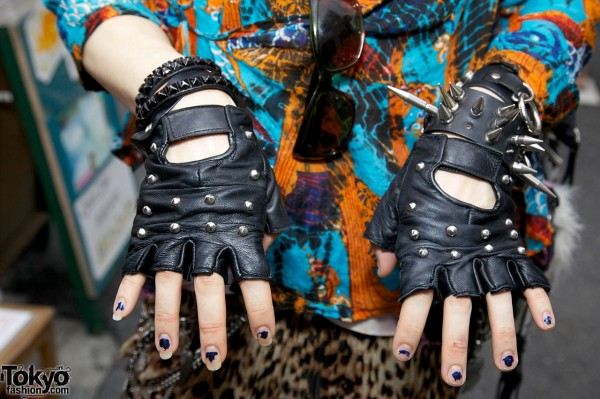 Fingerless Gloves & Studded Bracelets