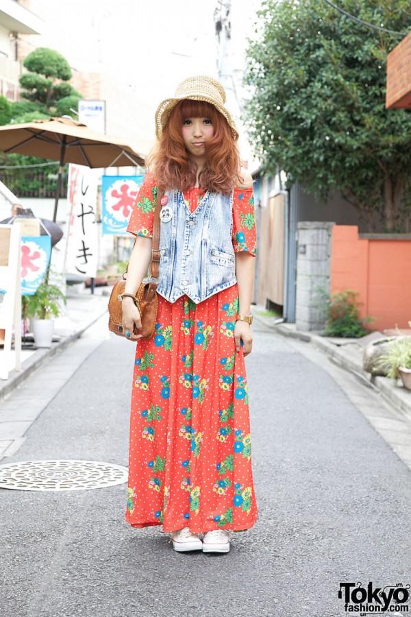 Harajuku Girl's Red Hair, Rodeo Crowns Dress & Kangaroo Purse