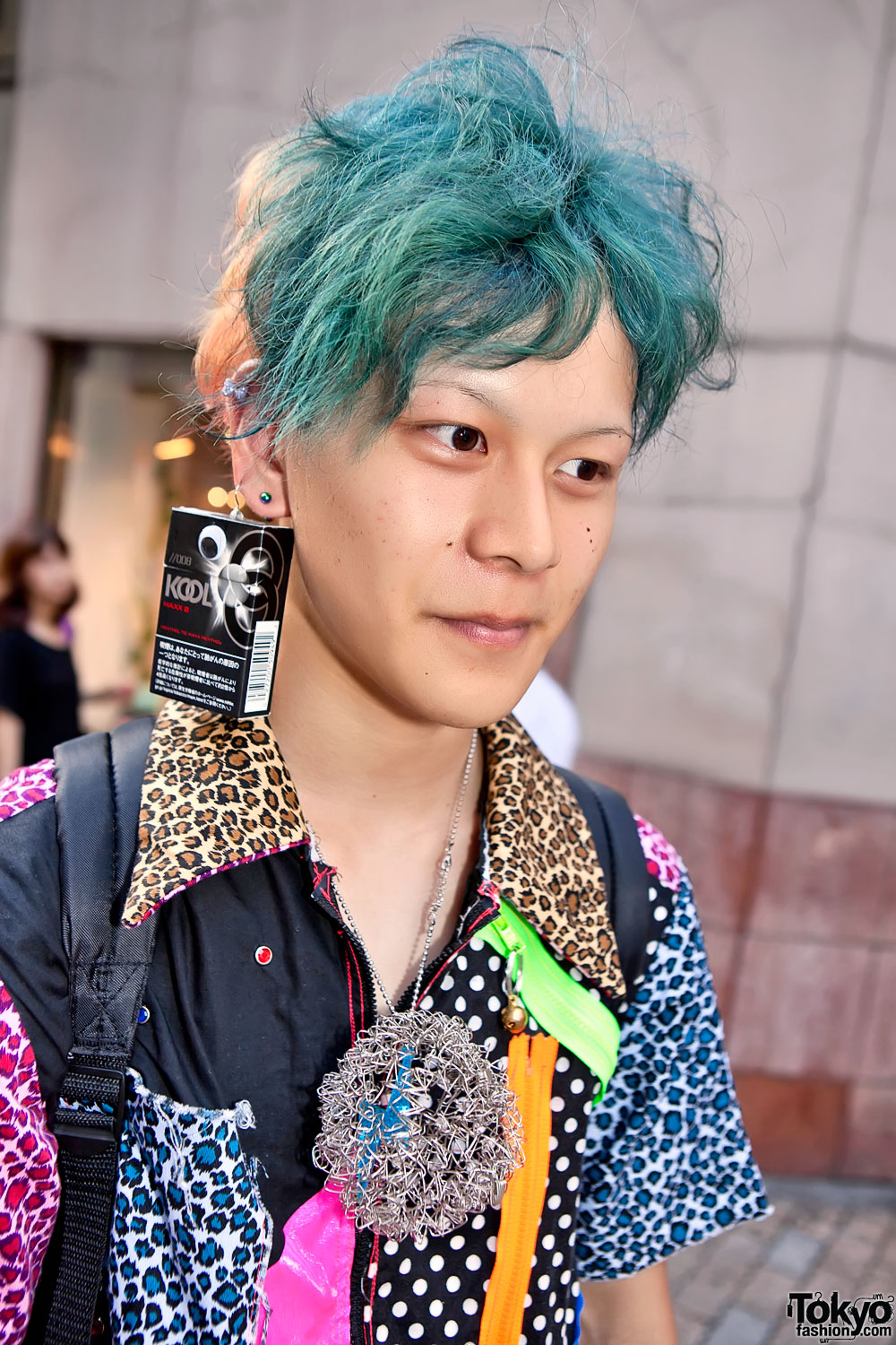 Japanese Guy W Blue Green Hair Cigarette Box Earring Drop Crotch