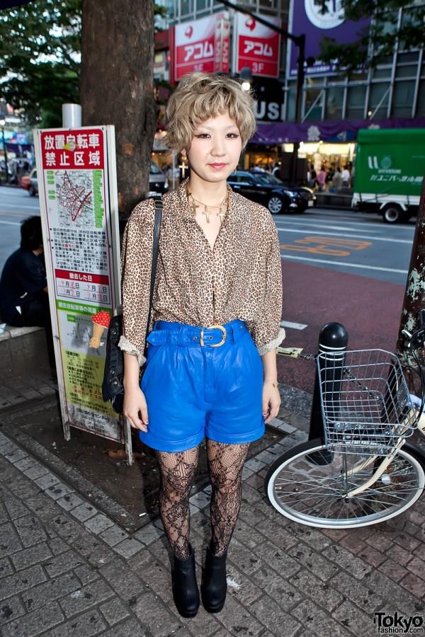 Blue High Waist Leather Shorts in Shibuya