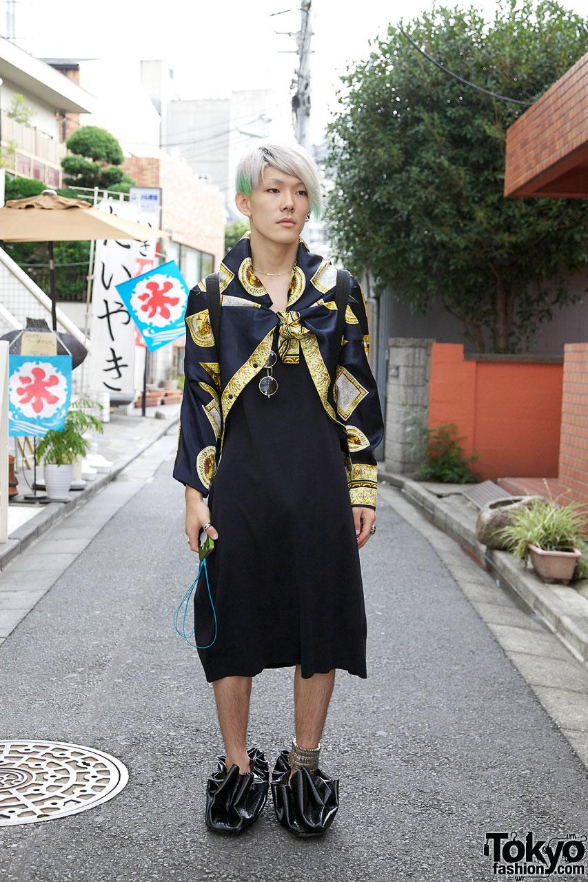 Bunka Fashion student in upside-down shirt & dress