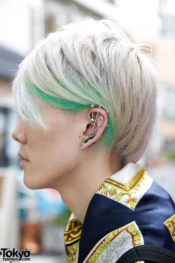 Ear studs & green streaks