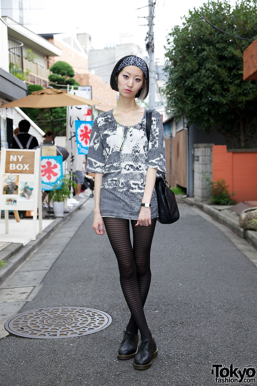 Short dress with knit graphic in Harajuku