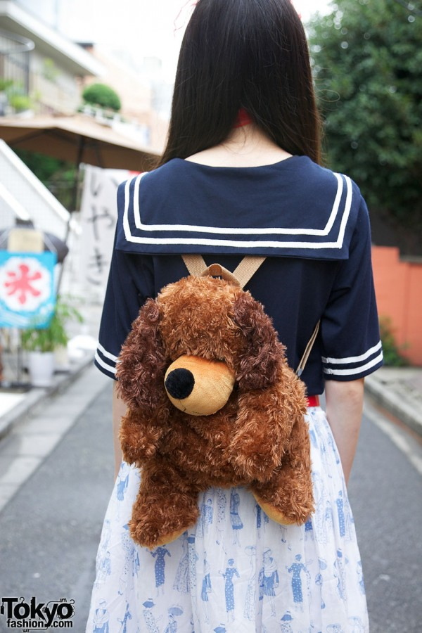 Cute Plush Animal Backpack in Harajuku