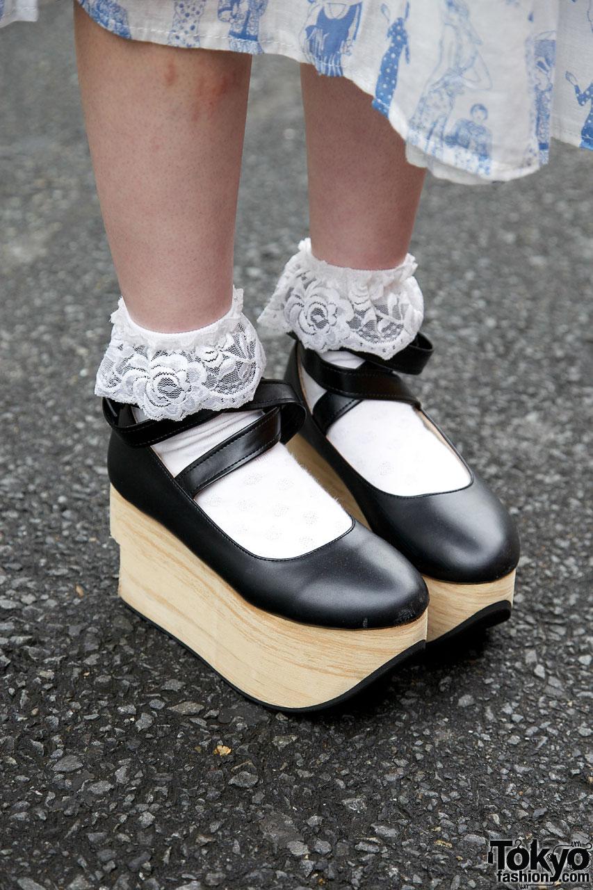 Harajuku Girls W Sailor Uniform Top Rocking Horse Shoes