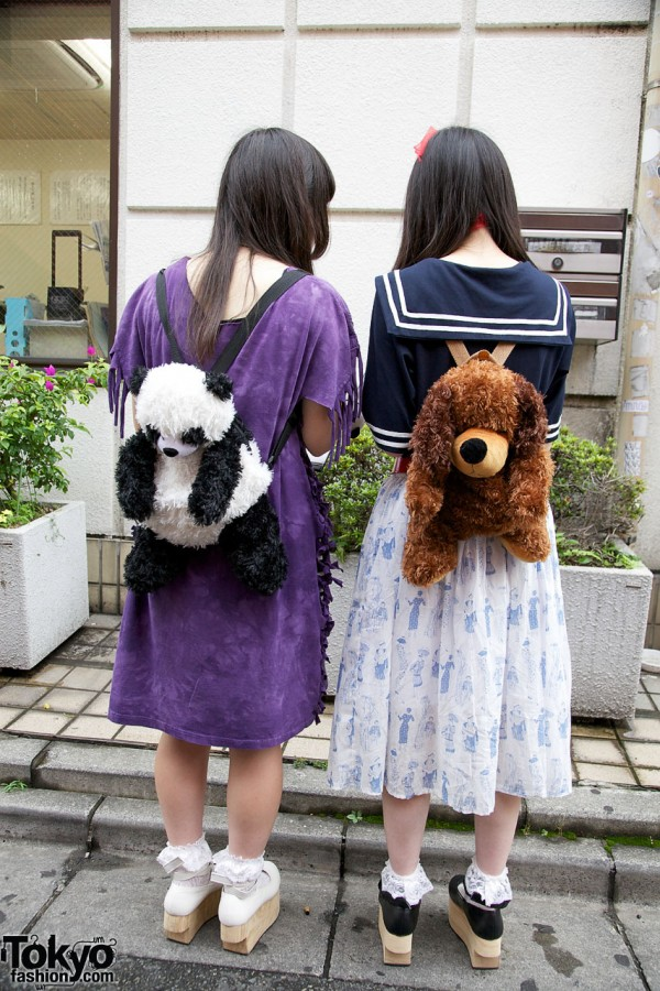 Cute Plush Animal Backpacks in Harajuku