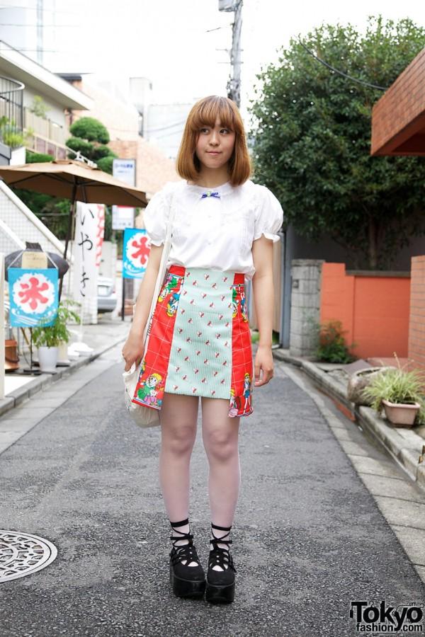Panel skirt & white blouse